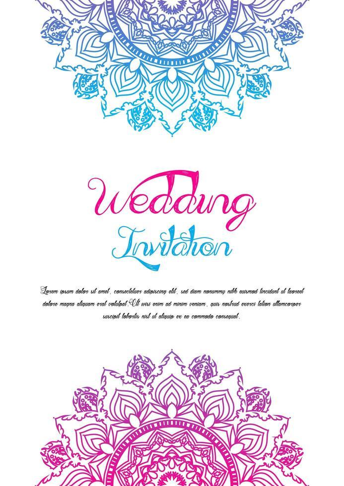 plantilla de invitación de boda doble mandala vector