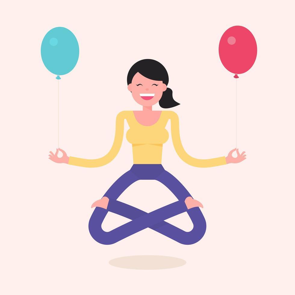 Floating Yoga Girl Holding Balloons vector