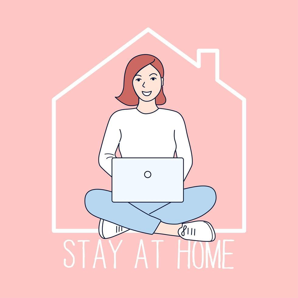Cartel de quedarse en casa con una niña en la computadora portátil vector