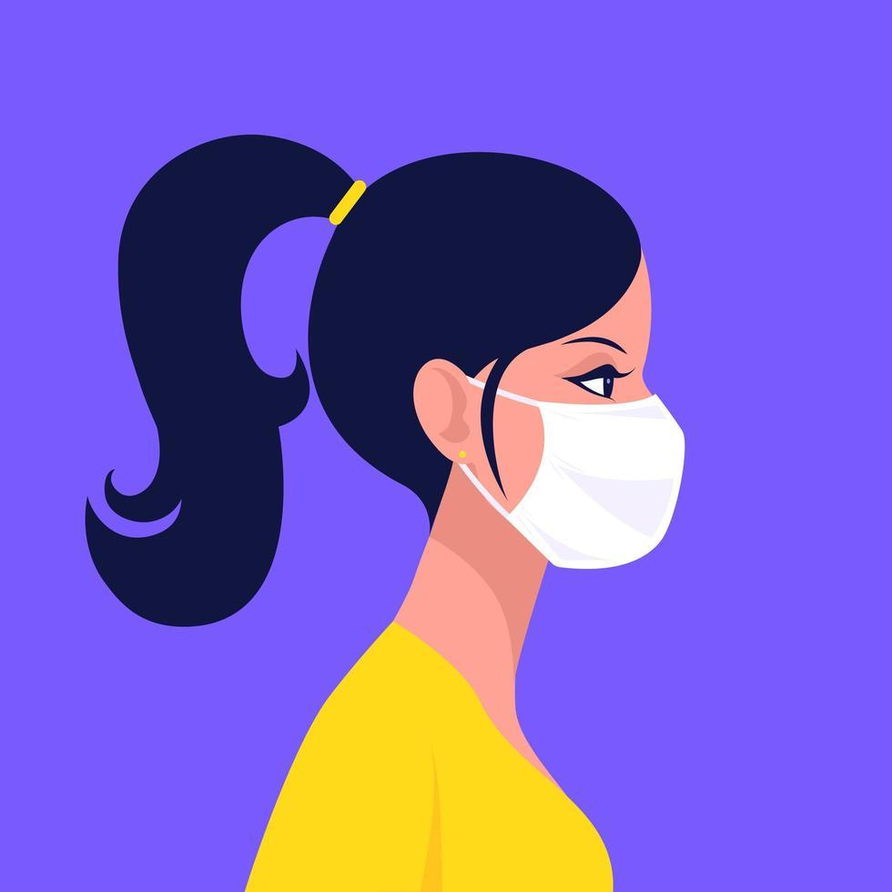 femme, porter, jetable, médical, masque facial vecteur