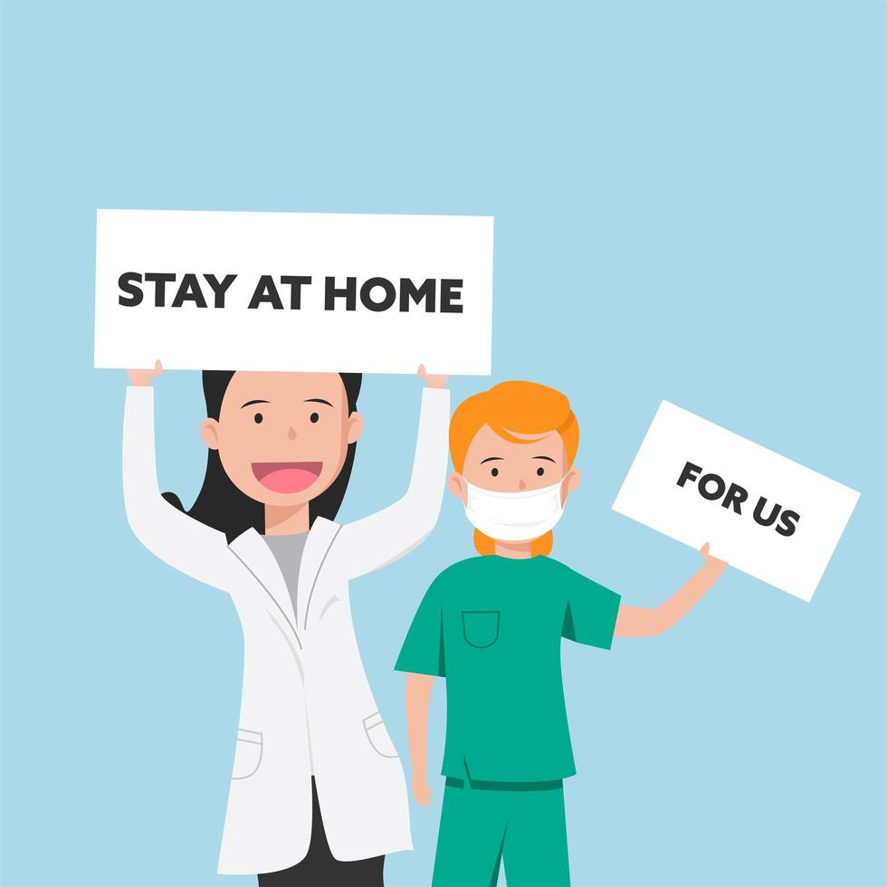 Doctor and Nurse with Stay Home Signs vector