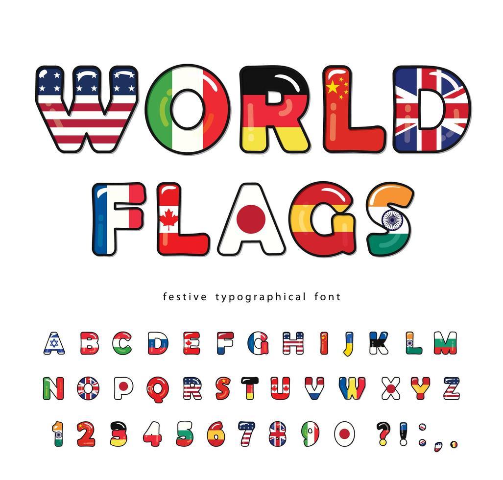 fuente de dibujos animados de banderas del mundo vector