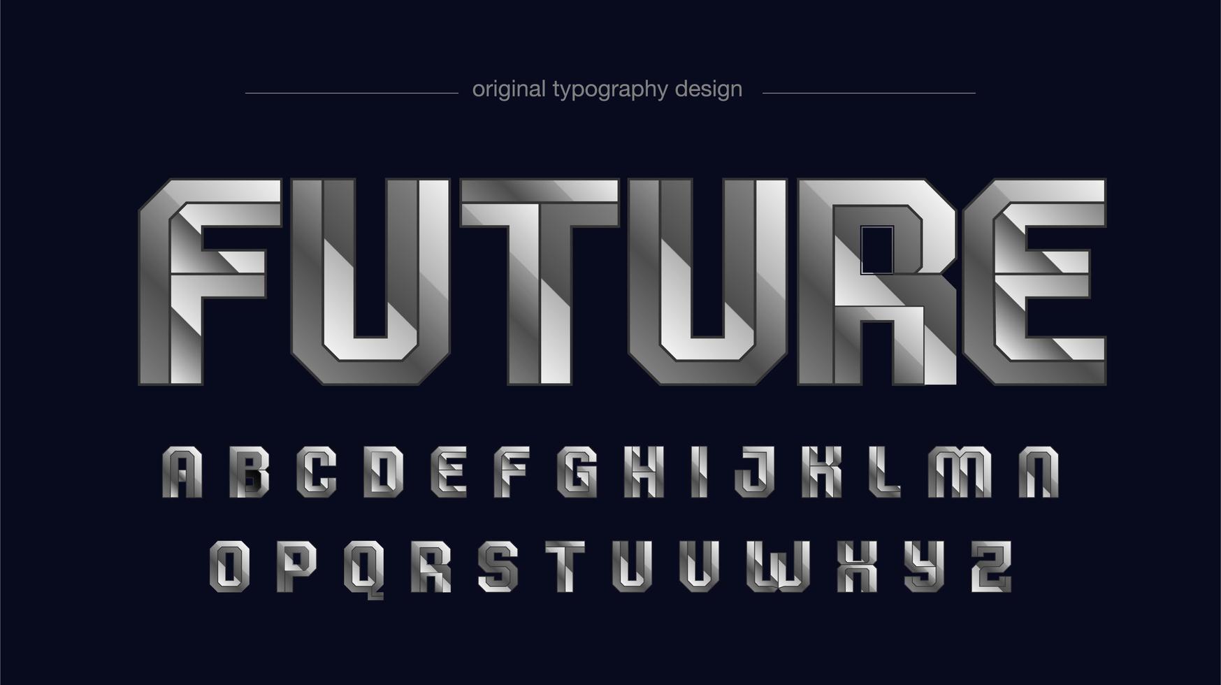 typographie sportive futuriste métallique argent chromé vecteur