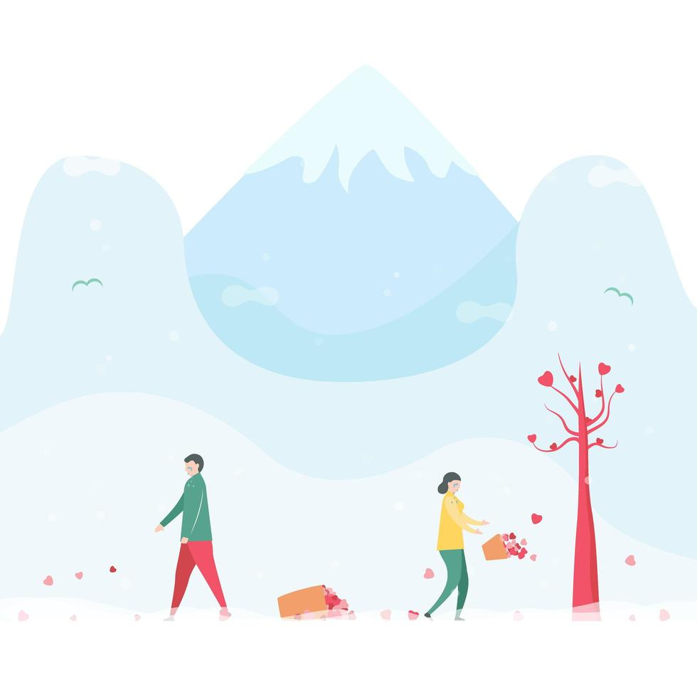 Sad couple dropping baskets of  hearts in winter vector