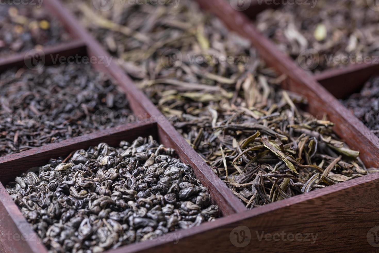 Dry tea leaves photo