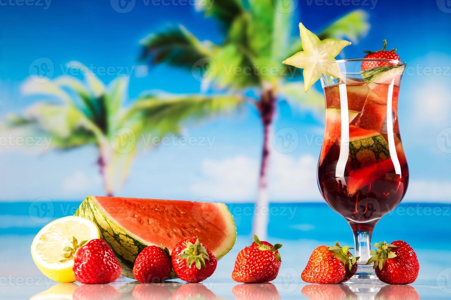 Tropical drinks on beach photo