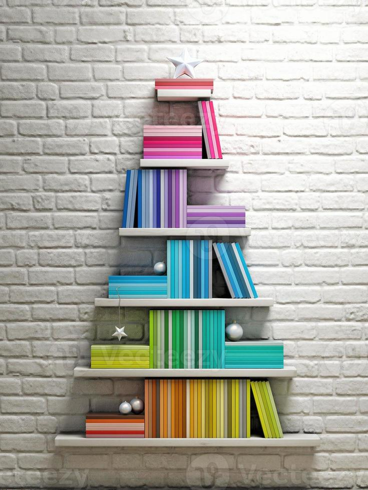 estantería, árbol de navidad, foto