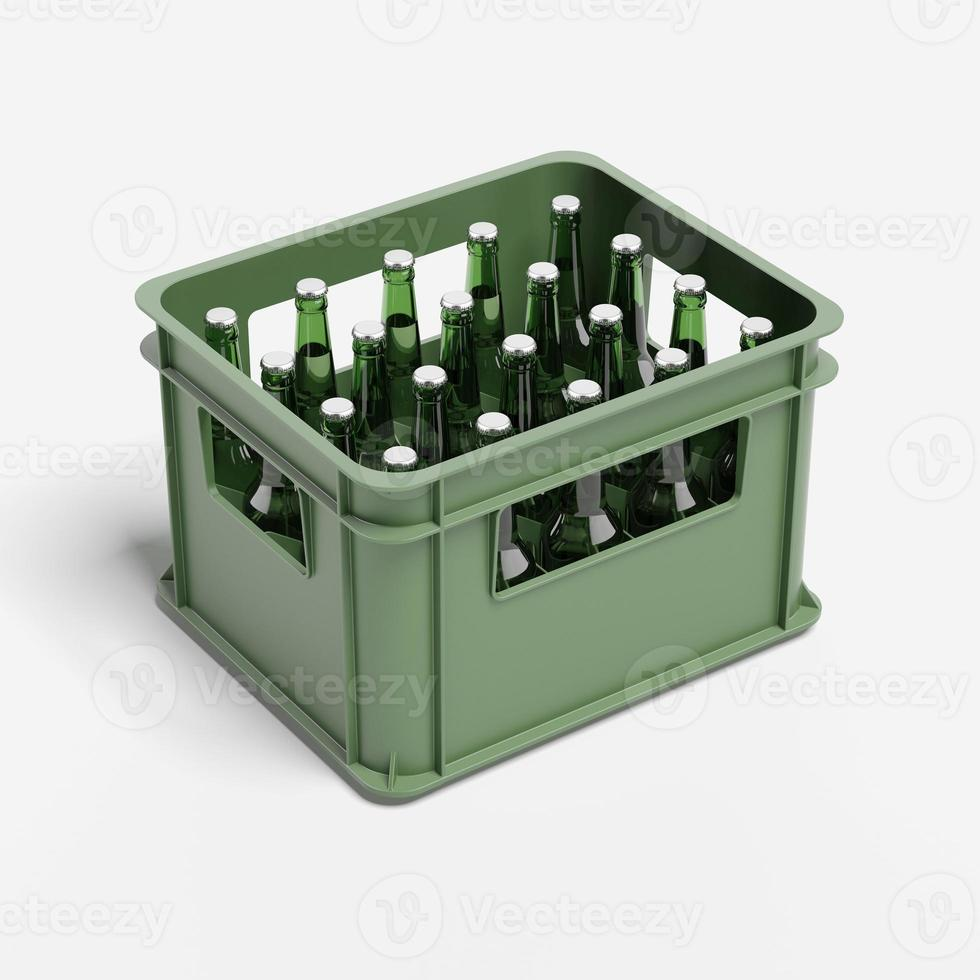Drink crate with beer bottles photo