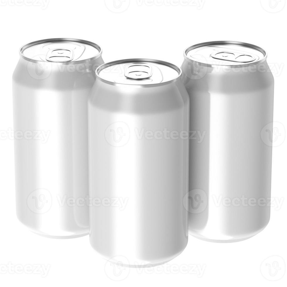 Three white beverage drink cans. photo