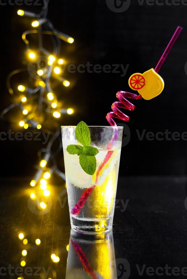 cold drink with ice lemonade photo