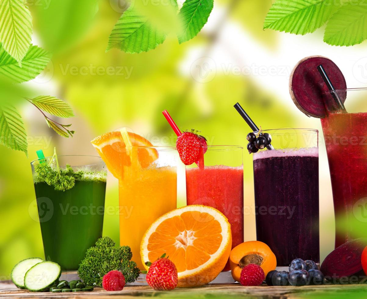 Fresh fruit juice, healthy drinks. photo
