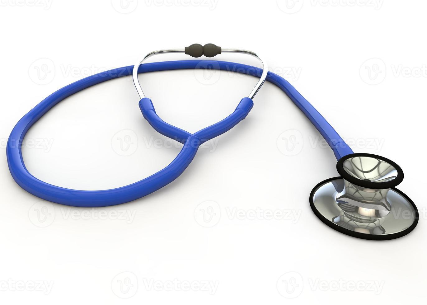 Blue medical phonendoscope on the white background photo