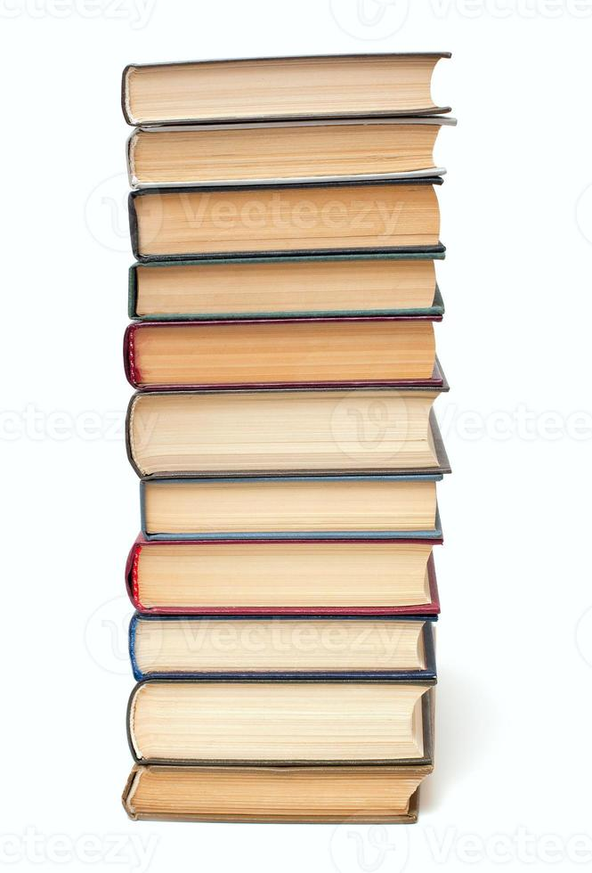 book stack isolated on white background photo