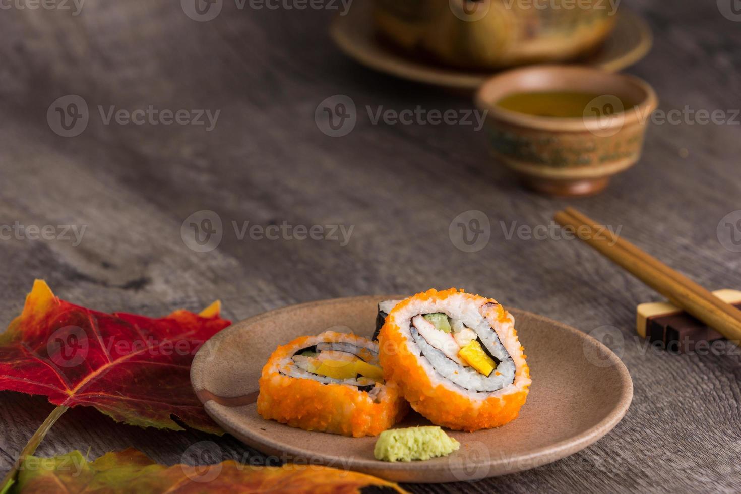 sushi  and tea drinking set photo
