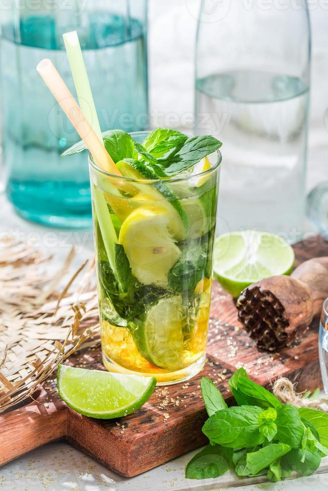 Sweet summer drink in glass photo
