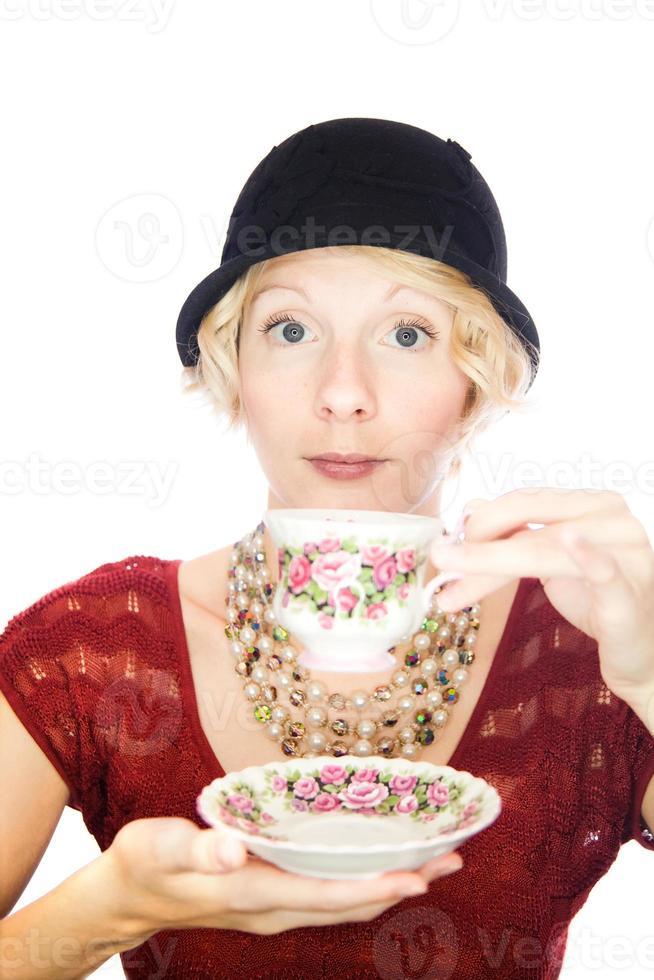 Beautiful lady portrait drinking tea photo