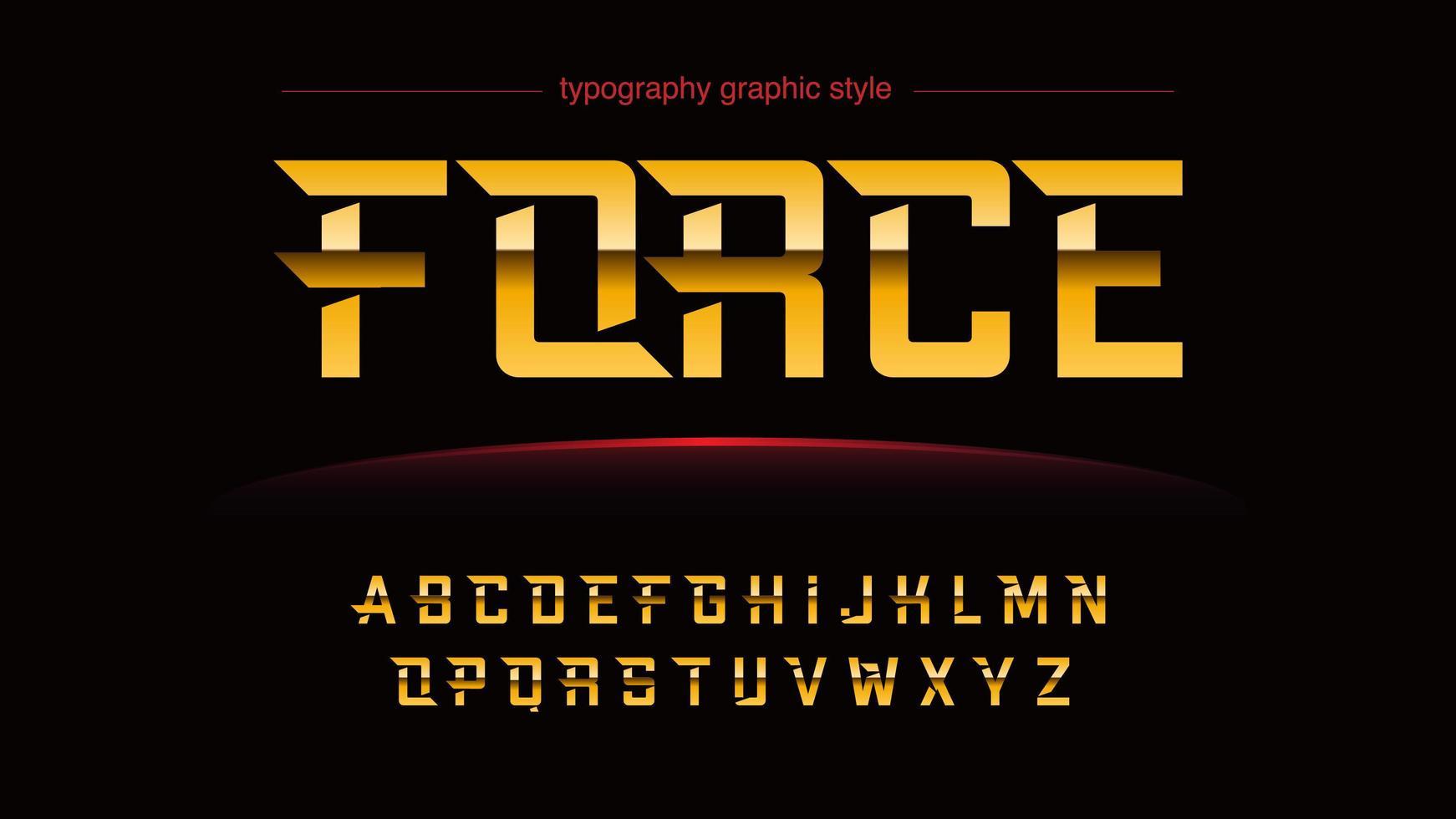 alfabeto futuristico personalizzato cromo dorato vettore