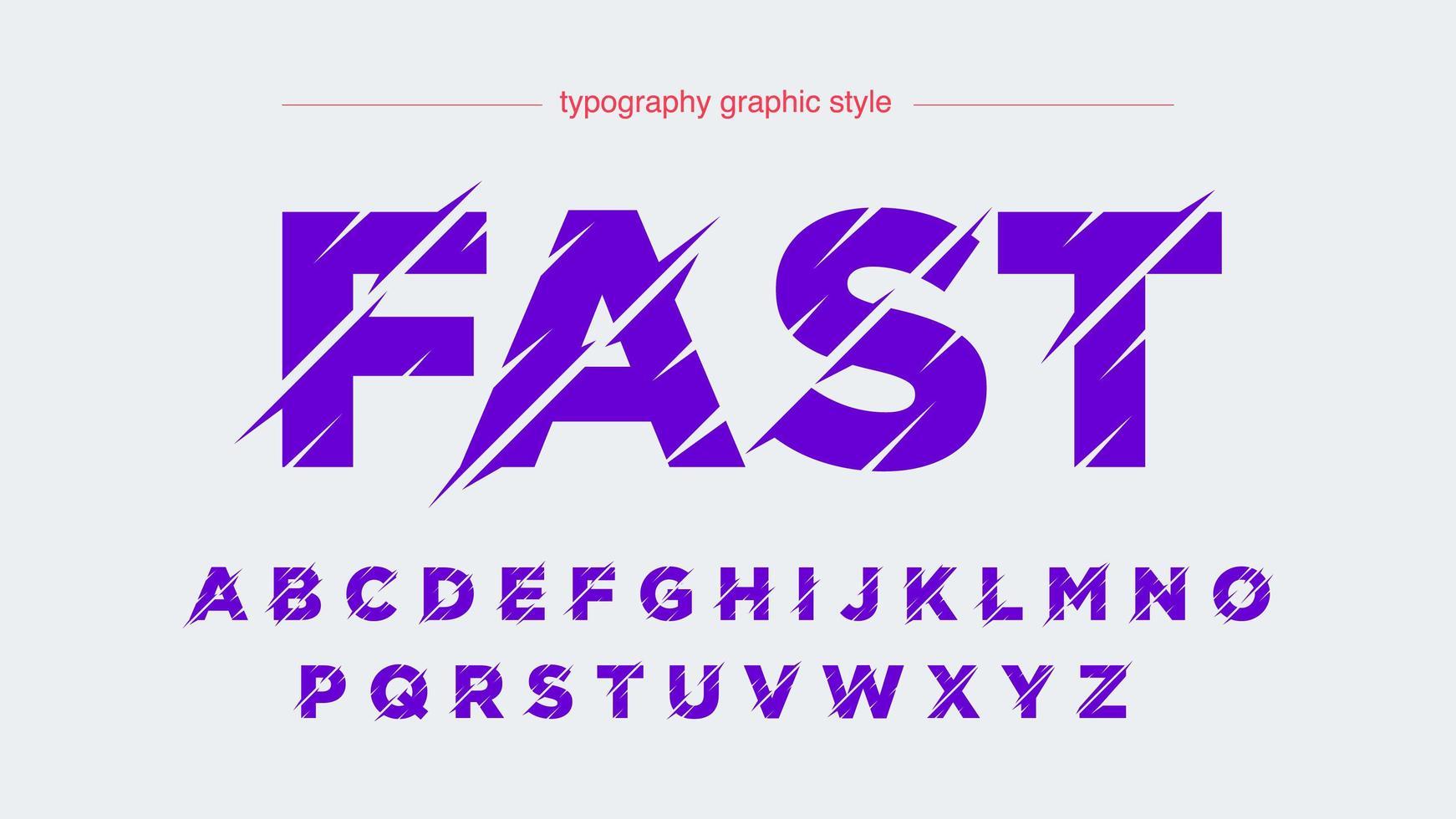 alfabeto viola futuristico affettato sport vettore