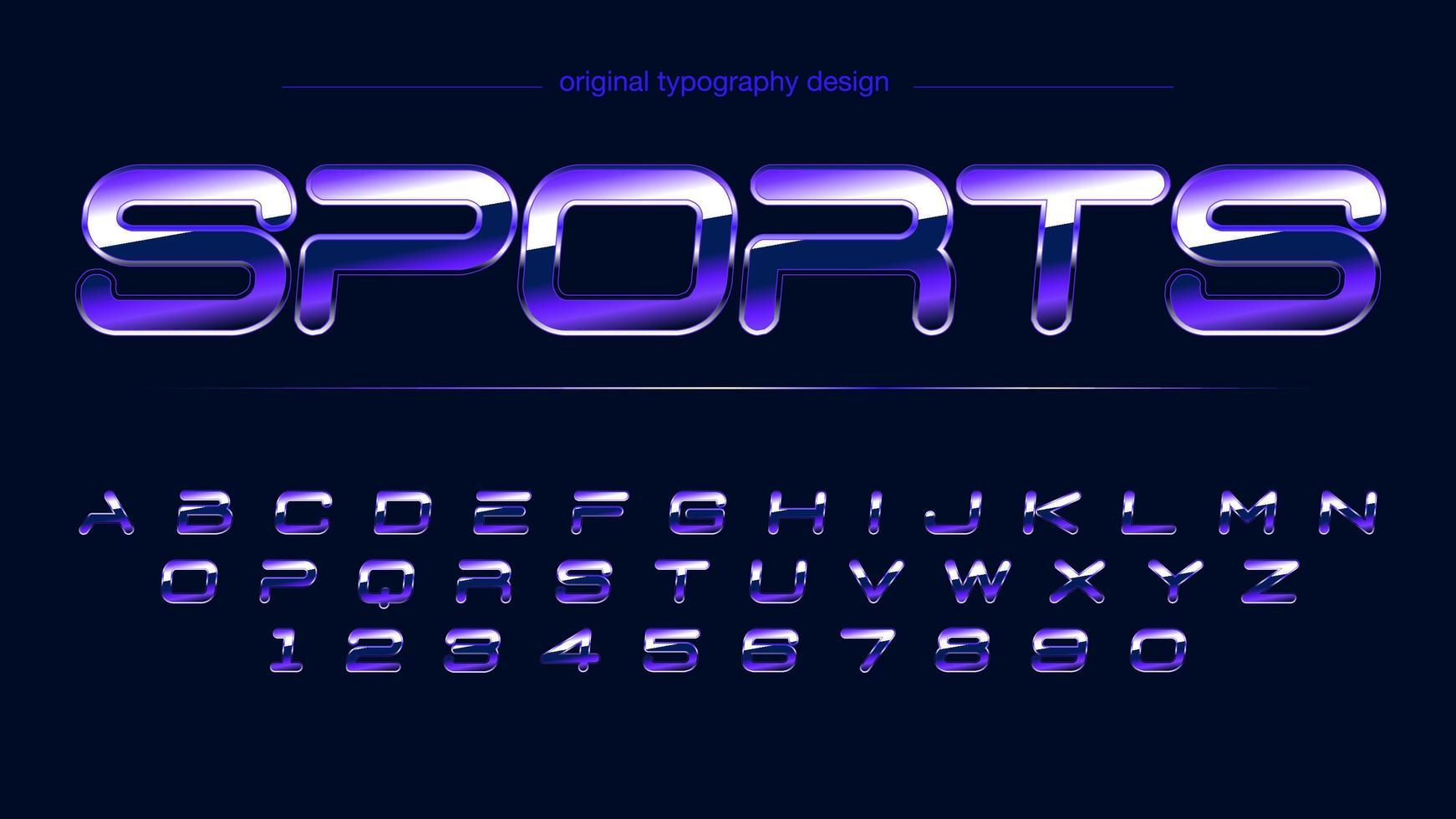 alfabeto artístico deportivo cromo brillante púrpura vector