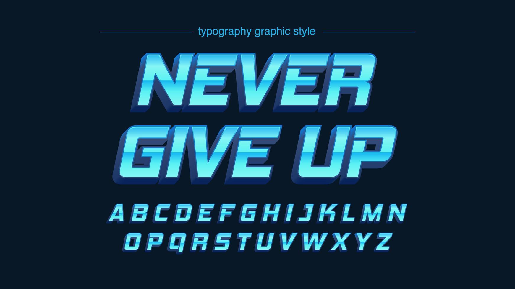 vibrante azul cromo 3d metálico artístico alfabeto vector