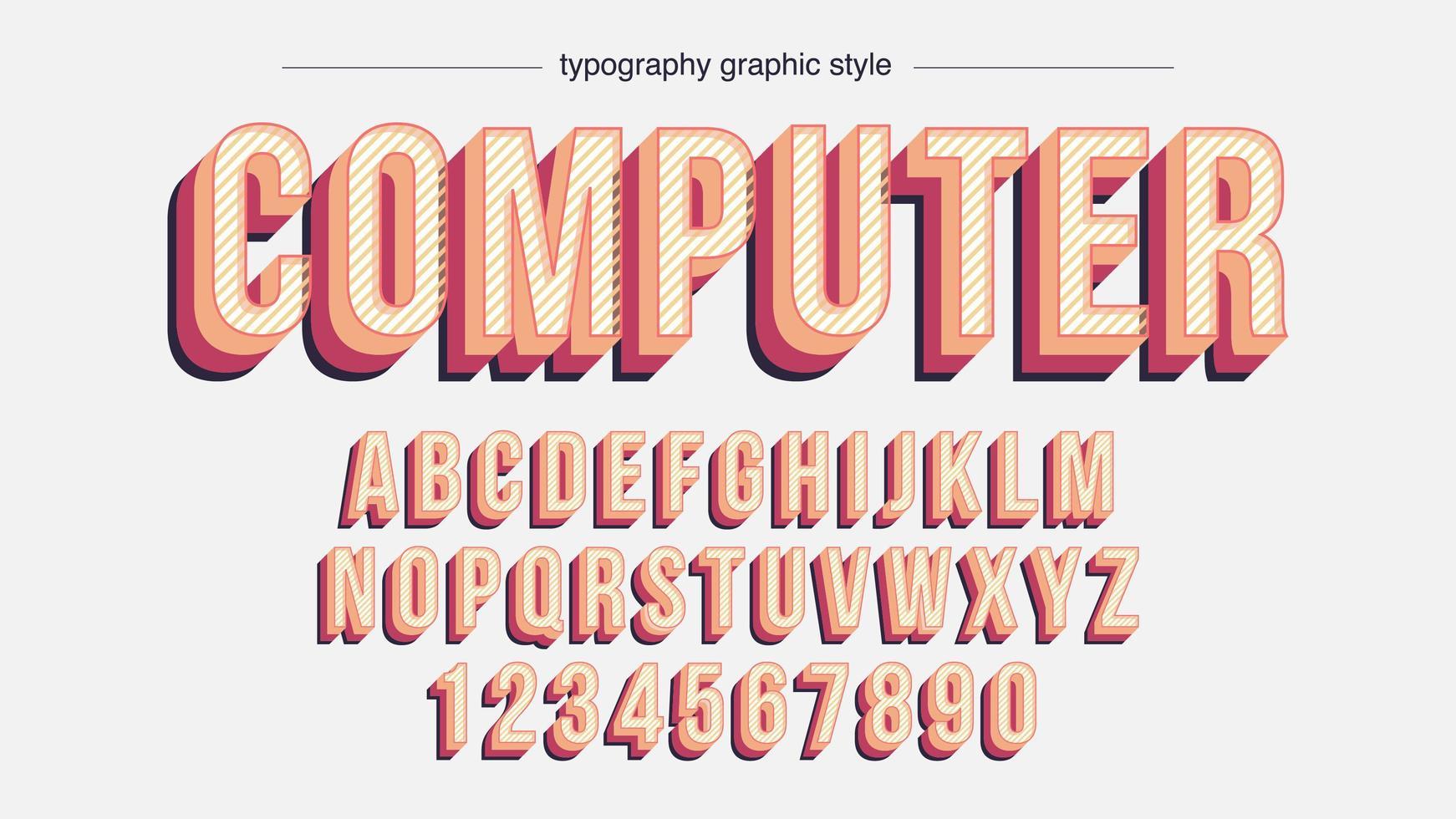 couleurs vintage alphabet rayé et en couches vecteur