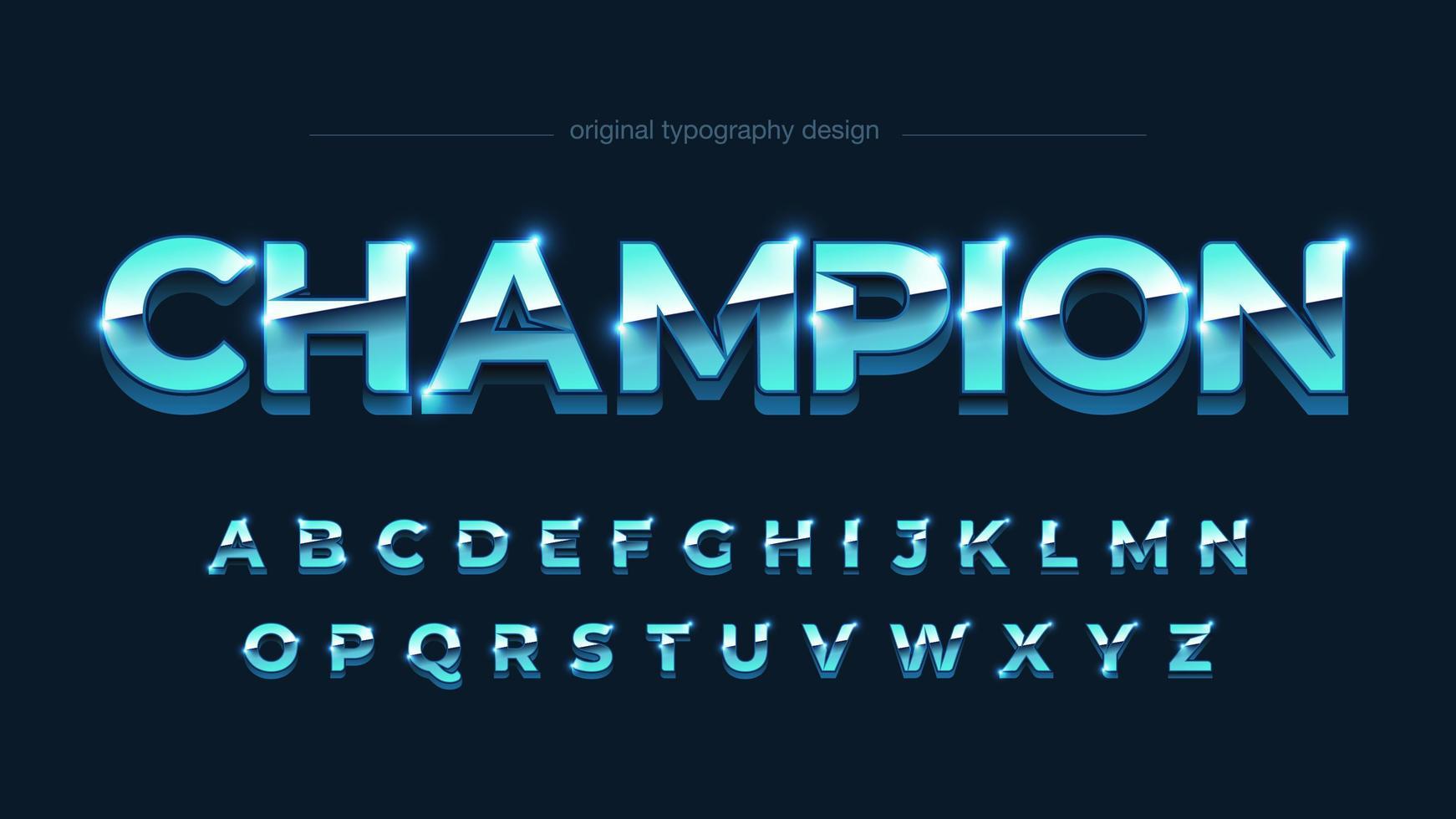 alphabet gras majuscule chrome bleu vif vecteur