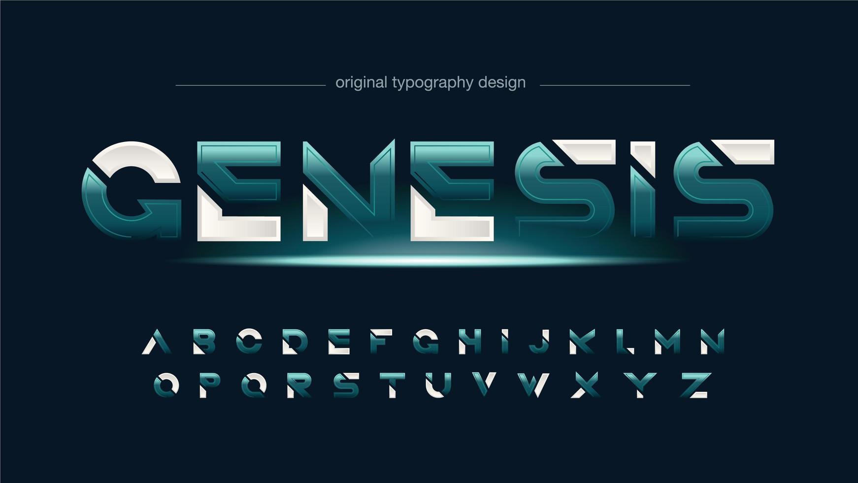 alfabeto affettato futuristico verde astratto vettore