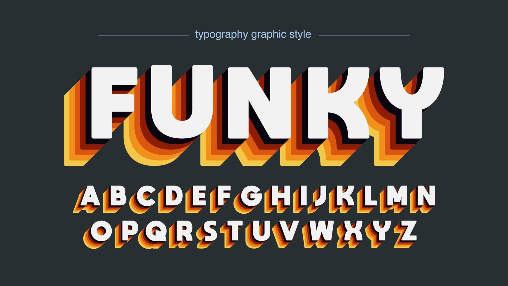 alphabet disco rétro couleurs chaudes vecteur