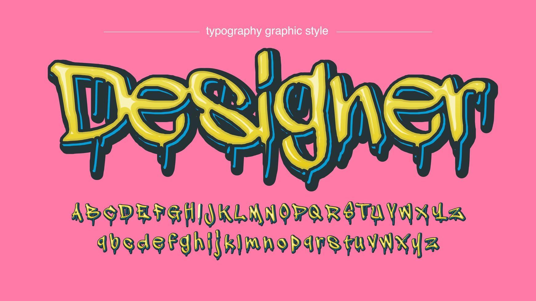 Modern Yellow Dripping Graffiti Font vector