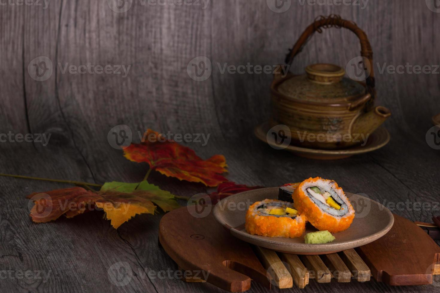 set para beber sushi y té foto