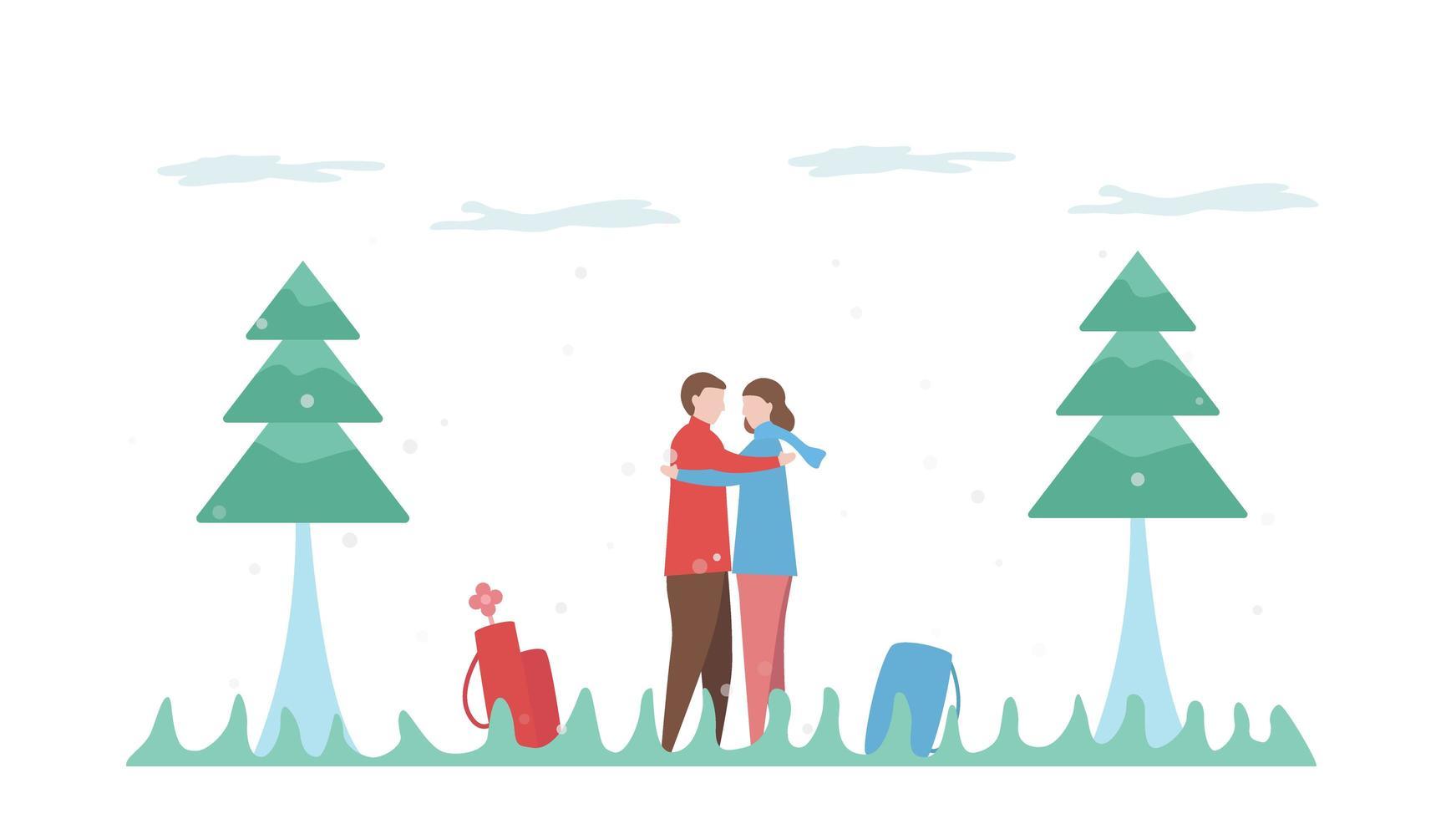 casal abraçando na cena ao ar livre vetor