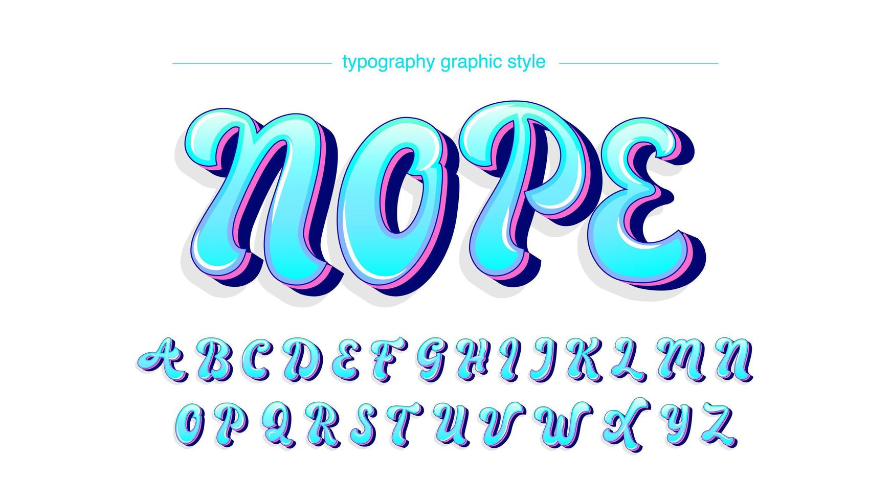 Neon Blue Purple Uppercase Calligraphy Style Font vector