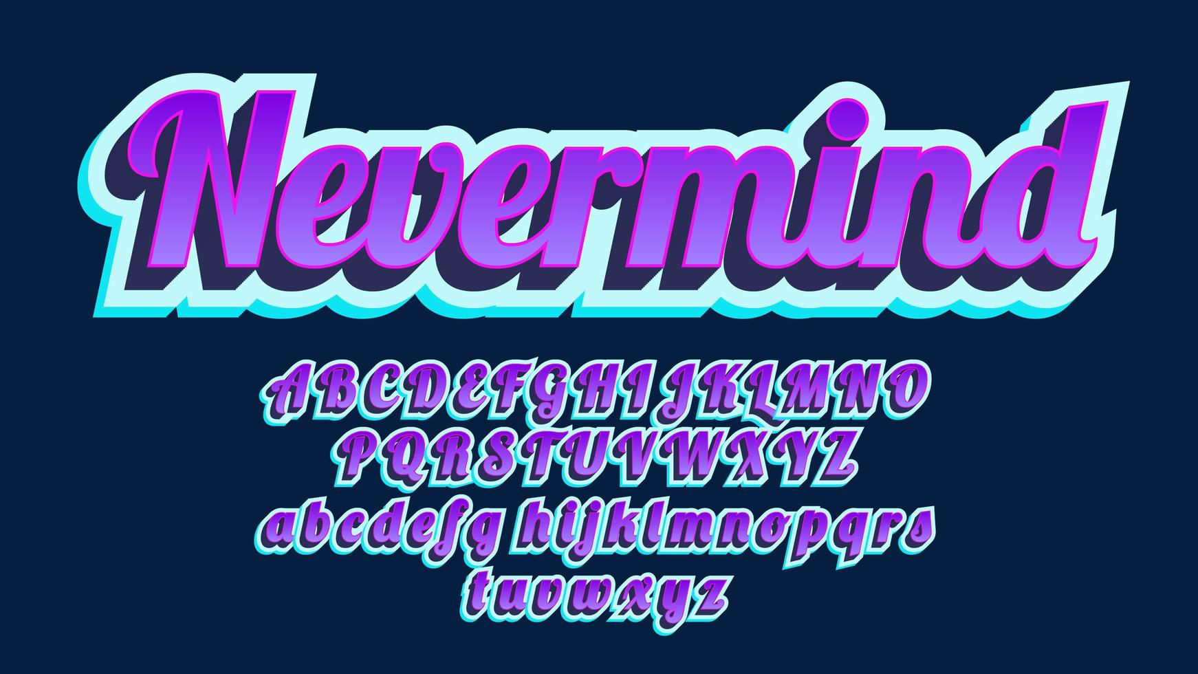 Bold 3D Purple Vintage Calligraphy Alphabet vector