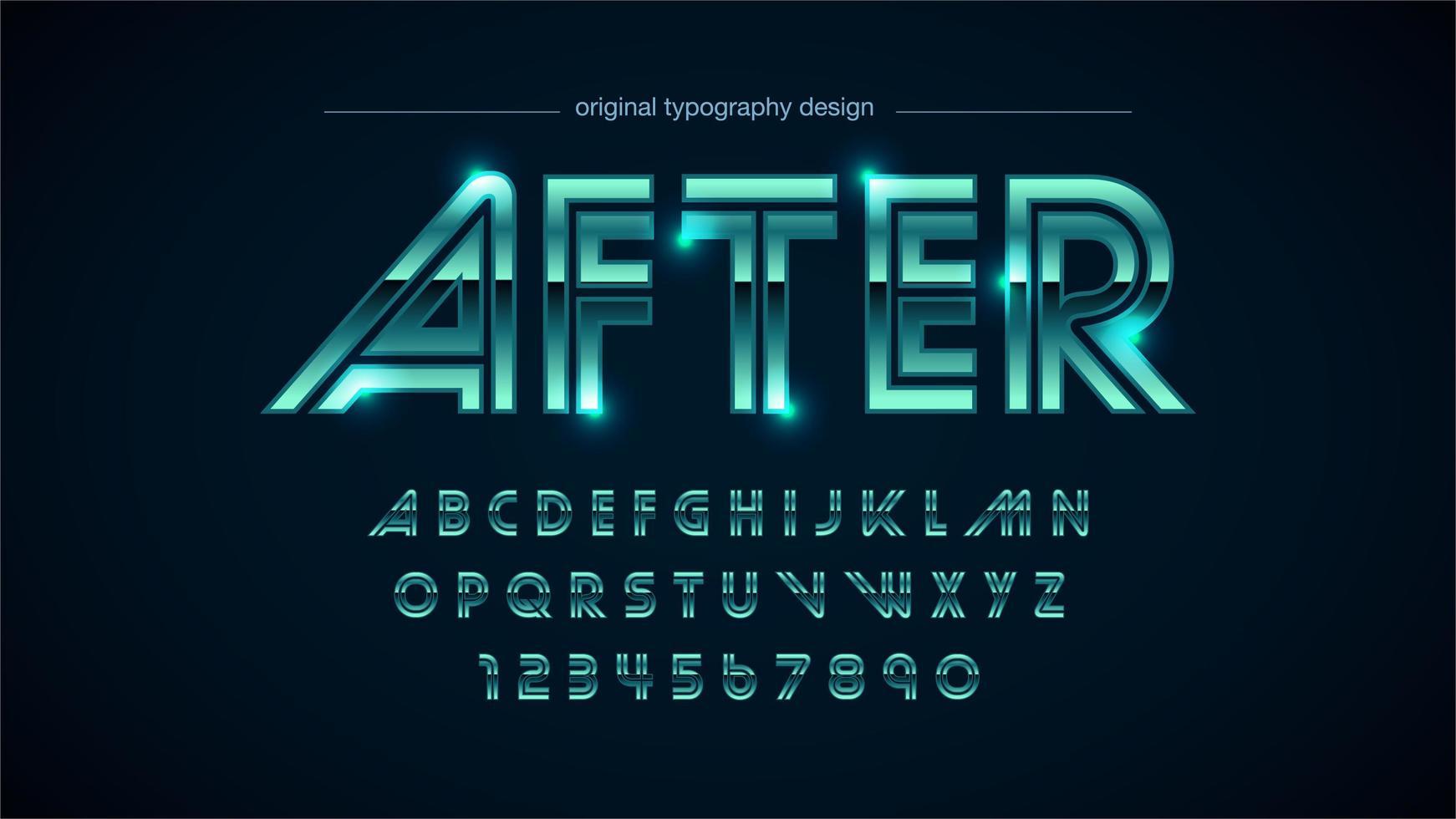 alfabeto vintage metallico cromato verde vettore