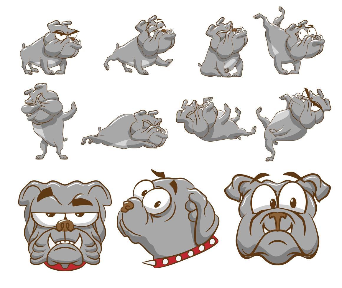 Cartoon Bulldog Set  vector