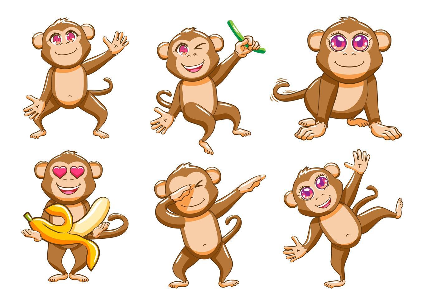 set di cartoni animati scimmia sciocca vettore