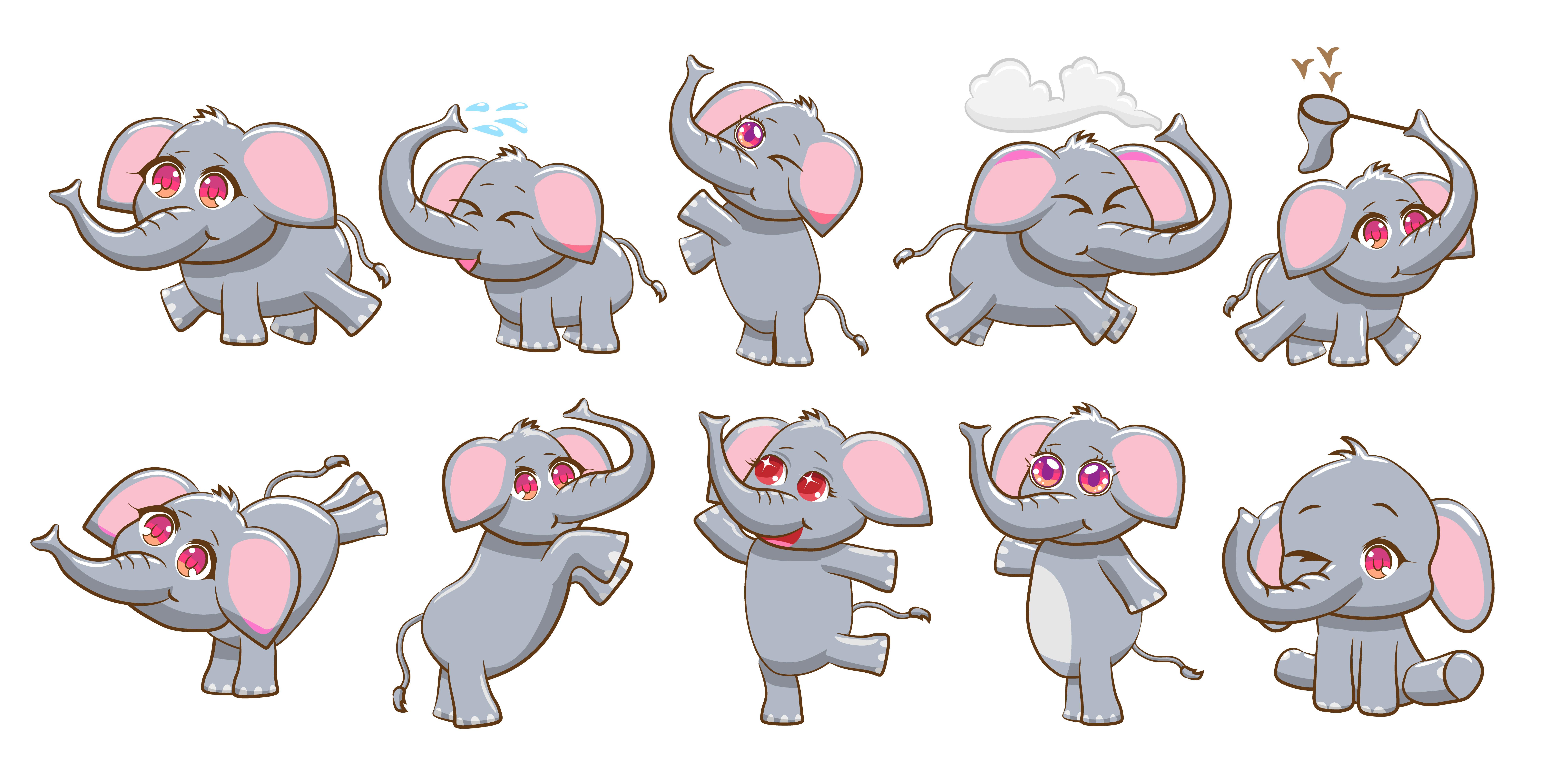 Cartoon Elephants Set Download Free Vectors Clipart Graphics Vector Art