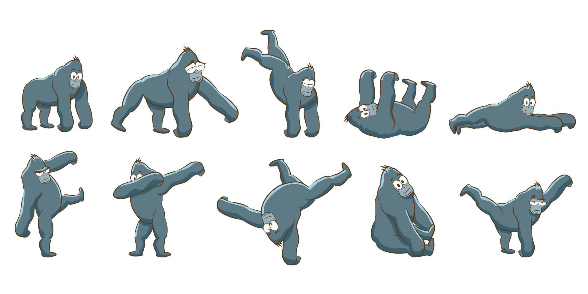 ensemble de gorilles de dessin animé vecteur