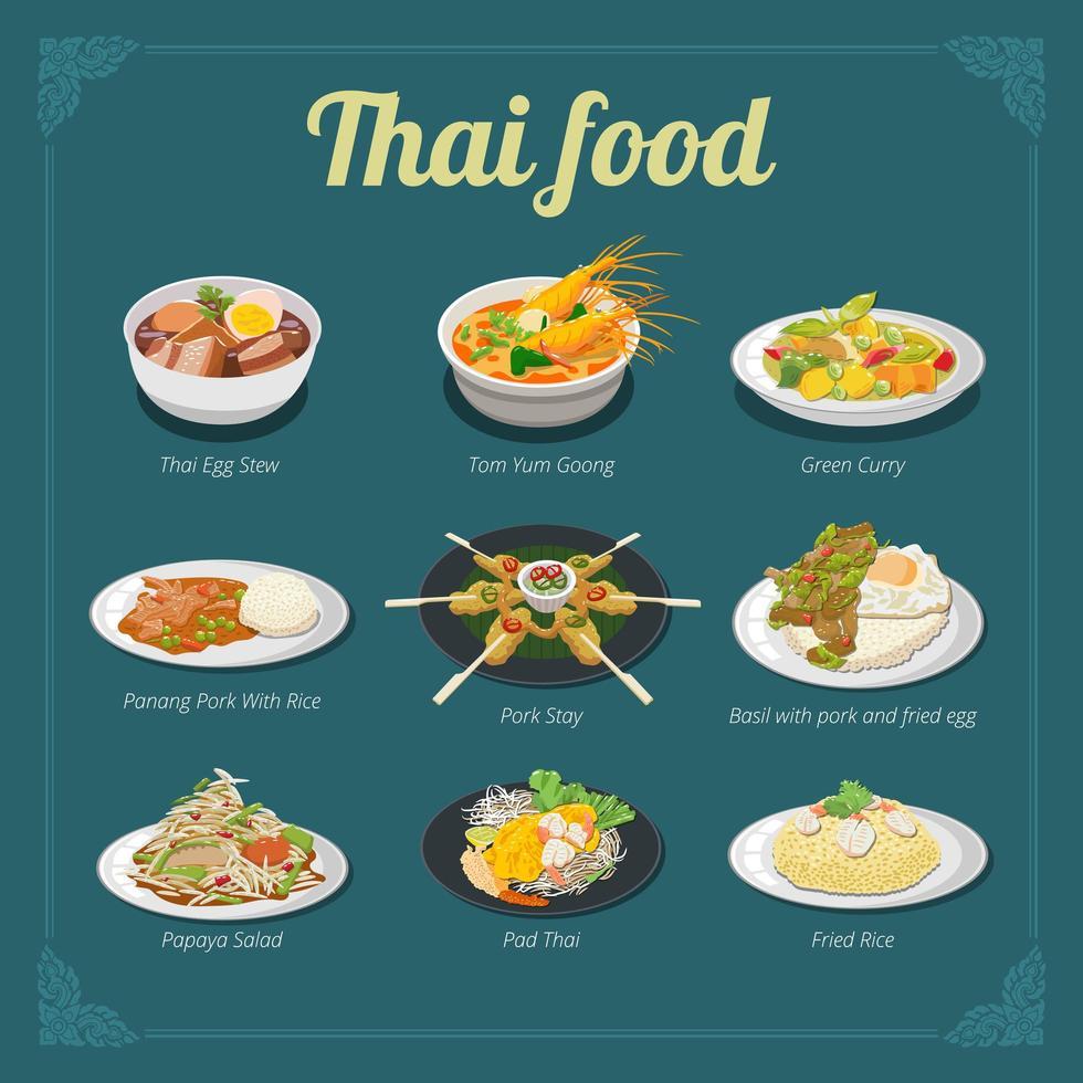 diseño de menú de comida tailandesa vector