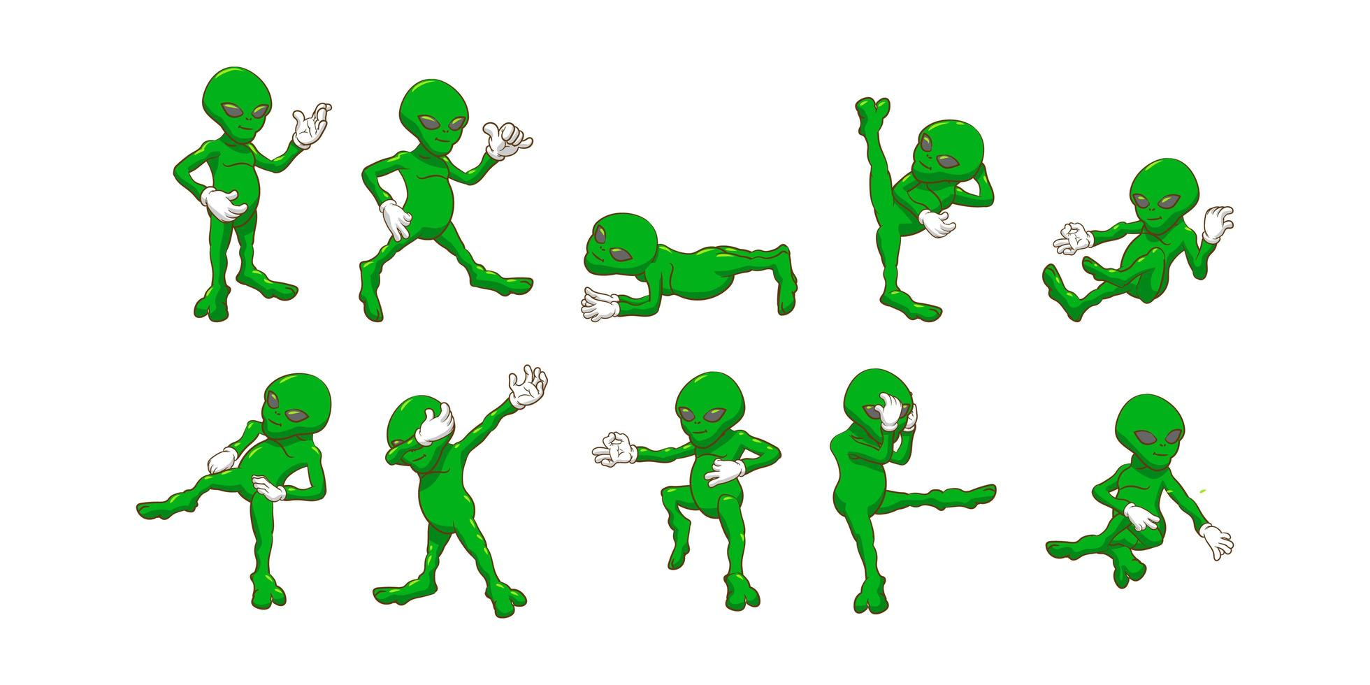 set di alieni sciocco dei cartoni animati vettore
