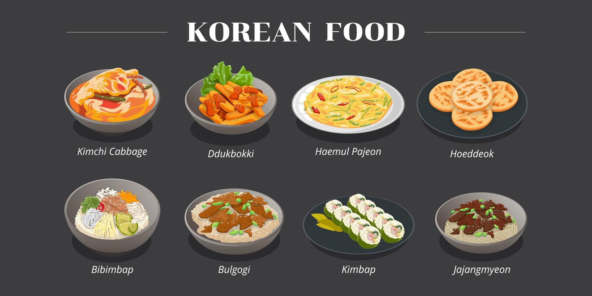 Traditional Korean Food Menu Design  vector