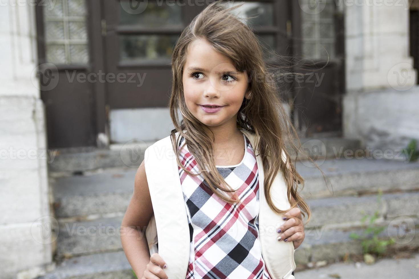 eight years old school girl photo