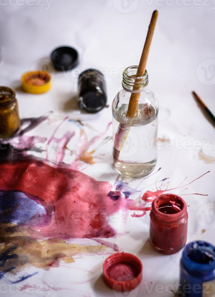 paintbrushes and water color photo