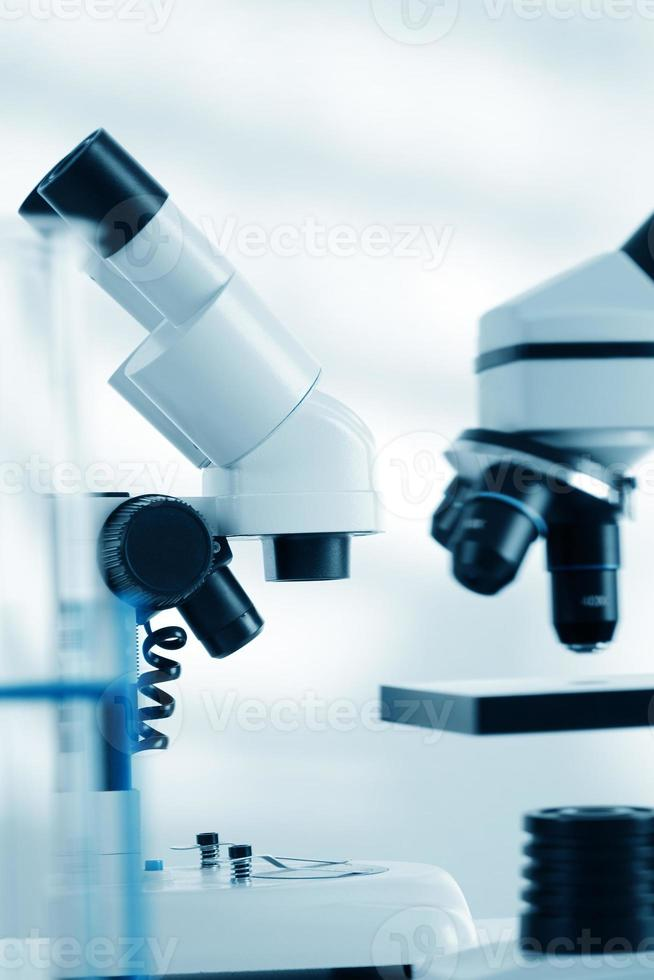 Laboratory microscope lens.modern microscopes in a lab photo