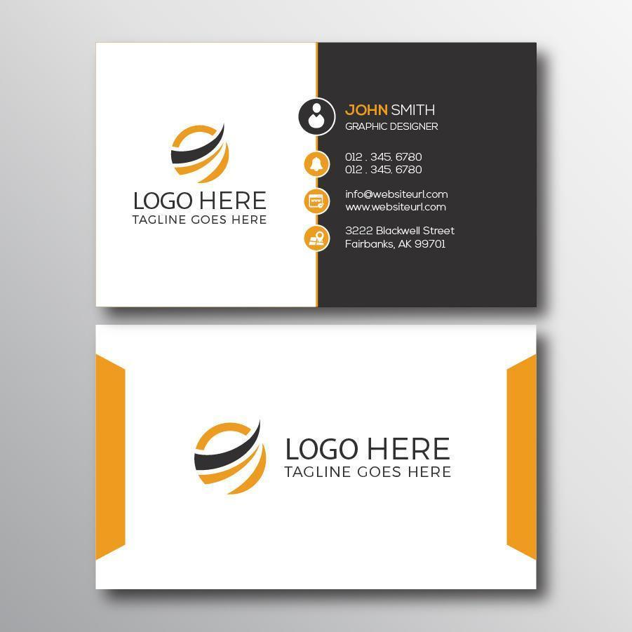 White and Gray Business Card with Yello Accents vector