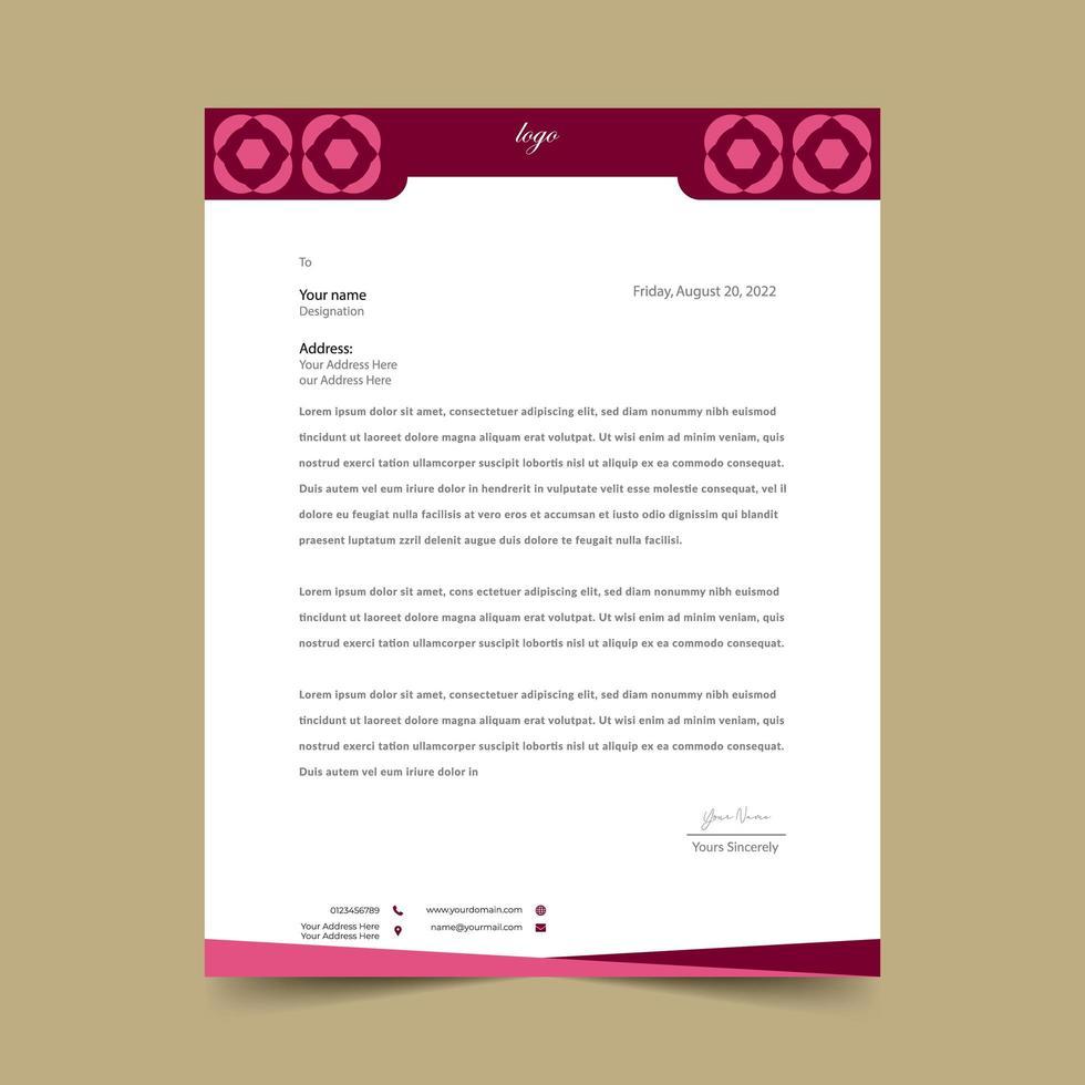 plantilla de membrete de diseño geométrico rojo rosa vector