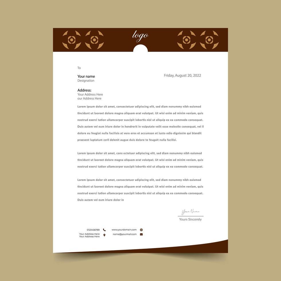 Brown Letterhead Geometric Template Design vector