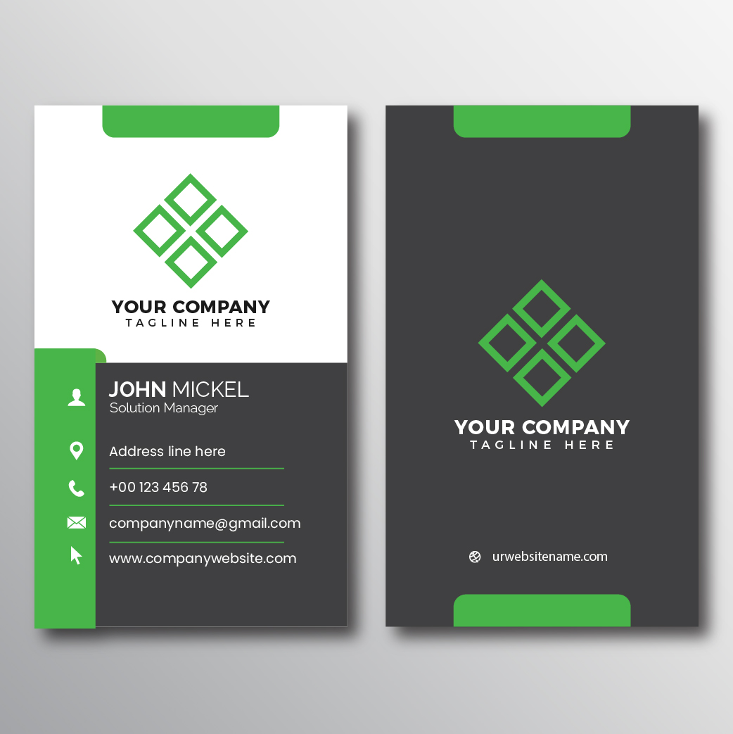 Gray And Green Accent Vertical Business Card Download Free Vectors Clipart Graphics Vector Art