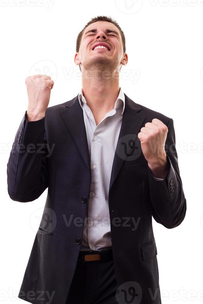 Businessman cheering photo
