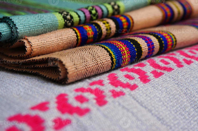Colorful of Lao fabric photo